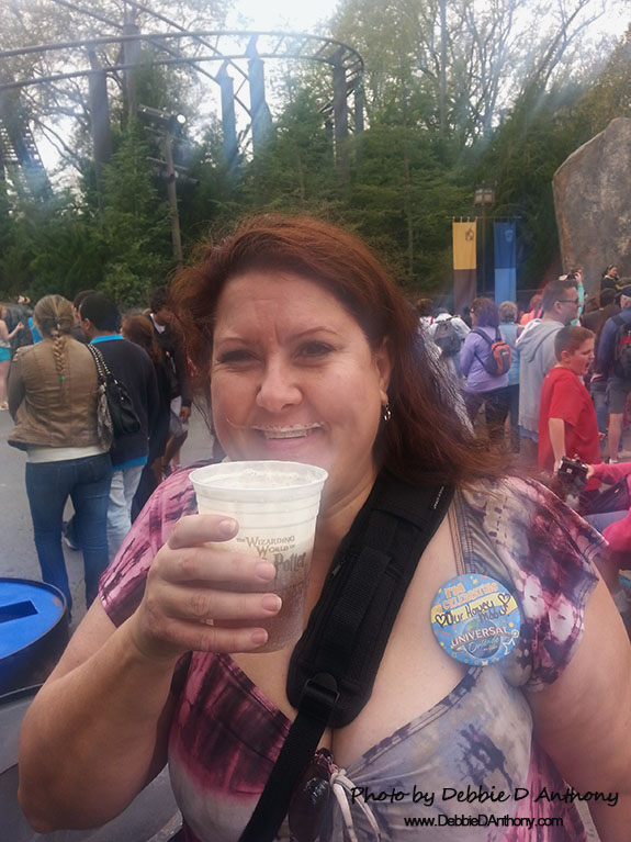 Enjoying Butterbeer at Universal Studios Florida